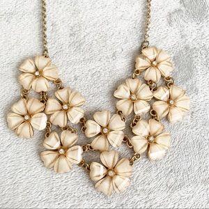 Jewelry - Gold Tone Glass Flower Bib Necklace